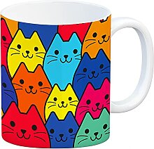 speecheese Kaffeebecher mit Katzen Motiv - Buntes