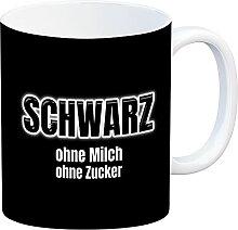 speecheese Kaffeebecher mit Spruch SCHWARZ ohne