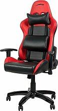Speedlink Verstellbarer Stuhl mit Armlehnen - Regger Gaming Chair Chefsessel für Gamer (Bürostuhl höhenverstellbar - Rückenlehne einstellbar Neigungswinkel (90-165°) inklusive Liegeposition - mit Kissen und Wippmechanik) ro