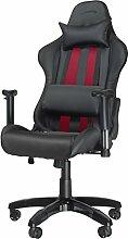 Speedlink Verstellbarer Stuhl mit Armlehnen - Regger Gaming Chair Chefsessel für Gamer (Bürostuhl höhenverstellbar - Rückenlehne einstellbar Neigungswinkel (90-165°) inklusive Liegeposition - mit Kissen und Wippmechanik) schwarz