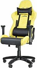 Speedlink Verstellbarer Stuhl mit Armlehnen - Regger Gaming Chair Chefsessel für Gamer (Bürostuhl höhenverstellbar - Rückenlehne einstellbar Neigungswinkel (90-165°) inklusive Liegeposition - mit Kissen und Wippmechanik) gelb