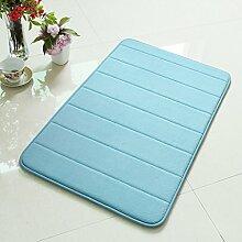 Speicher Cotton Badezimmer-saugfähige Pad-Fuss-Auflage Küche Bodenmatten Badezimmer Anti-Schiebe-Türmatten Die Türmatten ( Farbe : Blau )
