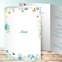 Speisekarten günstig, Sophias Garten 45 Karten, Vertikale Klappkarte (A5) 145x210, Blau