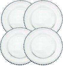 Speiseteller aus transparentem Glas, 32,6 cm, mit
