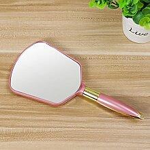 Sperrholzplatte einseitig gummibeschichtet tragbaren Spiegel Kosmetikspiegel, Square Pink 24*11,8 cm