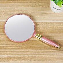 Sperrholzplatte einseitig gummibeschichtet tragbaren Spiegel Kosmetikspiegel, runde Pink 24*12,2 cm