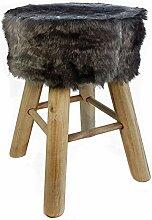 Spetebo Design Fell Hocker grau - Massiv Holz