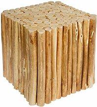 Spetebo Design Holz Hocker aus Holzästen - eckig