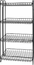 Spetebo Gitter Regal schwarz - 4 Ablagen - Design