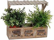 Spetebo Holz Blumenkasten mit 3 Fächern - Deko