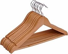 Spetebo Holz Kleiderbügel 10er Pack - mit Hosenstange und drehbar - 10 Holzbügel