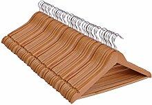 Spetebo Holz Kleiderbügel 50er Pack - mit Hosenstange und drehbar - 50 Holzbügel
