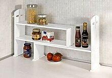Spetebo Holz Küchenregal in weiß - ausziehbar -