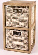Spetebo Holzregal mit 2 Körben aus Maisgeflech