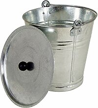 Spetebo Zinkeimer mit Deckel 12 Liter - Ascheeimer