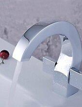spezielle Design verchromt Doppelgriff einziges Loch Waschbecken Wasserhahn
