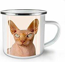 Sphynx Katze Foto Tier Weiß Emaille-Becher 10 oz | Wellcoda