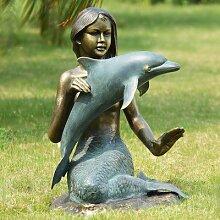 SPI Meerjungfrau und Delfin Garten Statue