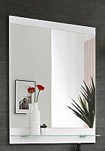 Spiegel 'Justin S' Badspiegel Badmöbel Spiegel Weiß Hochglanz Dekor Modern, Maße:Breite 60cm