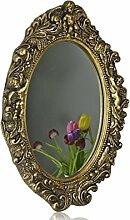 Spiegel 50 x 43cm groß barock Wandspiegel oval mit Engel Badspiegel antik