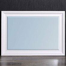 Spiegel 90 x 70 cm Wandspiegel Barock Weiss-Matt COPIA Holzrahmen und Facette
