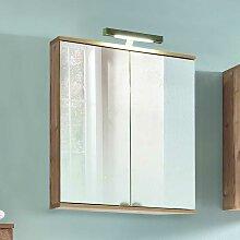Spiegel Badschrank im Dekor Fichte Grau LED