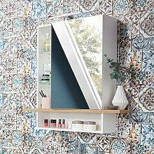 Spiegel Badschrank in Weiß und Eichefarben LED