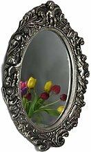 Spiegel barock Silber Wandspiegel oval mit Engel Badspiegel