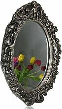 Spiegel barock Wandspiegel oval mit Engel Badspiegel (Silber)