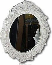 Spiegel barock Wandspiegel oval mit Engel Badspiegel (Weiß)