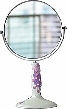 Spiegel-Beauty Make-up-Spiegel Make-up-Spiegel Double-Side rotierende Runde Harz High-Definition tragbaren Spiegel auf Standfuß Spiegel (Farbe: Pearl White, Größe: 7 Zoll)