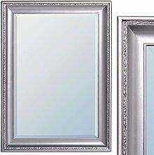 Spiegel COPIA 70x50cm Silber-Antik Wandspiegel Barock Holzrahmen und Facette