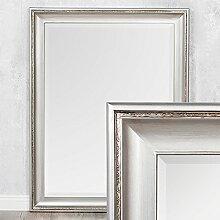 Spiegel COPIA 90x70cm Silber-Antik Wandspiegel Barock Holzrahmen und Facette