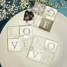 Spiegel Finish Love Hochzeit Untersetzer Sets