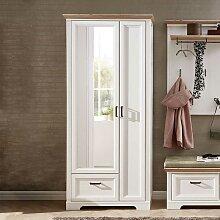 Spiegel Garderobenschrank in Weiß und Eichefarben