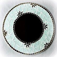 Spiegel Glas Mosaikspiegel Dekospiegel Wandspiegel Handarbeit 30cm rund #46a