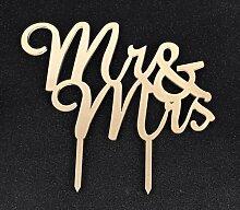 Spiegel Gold Acryl Hochzeit Tortenaufsatz Party Dekoration Cupcake-Ständer (Spiegel Gold–Mr & Mrs (2))