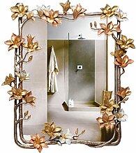 Spiegel - Hochwertige Magnolia Blumen Relief Badezimmer Spiegel Luxury Club Dekoration Spiegel Beauty Salon Wandspiegel Einfache moderne Anti-fog-Silber Spiegel Willkommen (Farbe: Farbe Glasur)