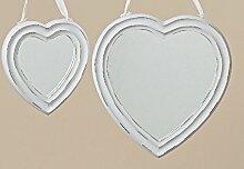 Spiegel Holzspiegel Herzspiegel Holz weiß Wandspiegel Kosmetikspiegel Hochzeit Landhaus Vintage 2er Se
