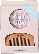 Spiegel Kamm Set Make Up Spiegel Tragbare Haarkamm Farbe Mini Carry , 351 pink diamond lattice