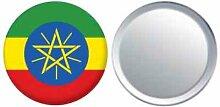 Spiegel Knopfabzeichen Flagge Fahne Äthiopien mit Wappen - 58mm
