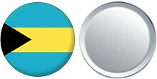 Spiegel Knopfabzeichen Flagge Fahne Bahamas - 58mm