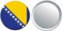Spiegel Knopfabzeichen Flagge Fahne Bosnien und Herzegowina - 58mm