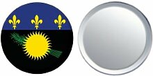 Spiegel Knopfabzeichen Flagge Fahne Guadeloupe - 58mm