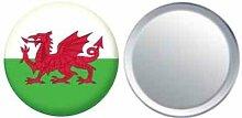 Spiegel Knopfabzeichen Flagge Fahne Wales - 58mm