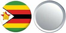 Spiegel Knopfabzeichen Flagge Fahne Zimbabwe - 58mm
