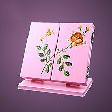 Spiegel Make-up-Spiegel Desktop-Spiegel Printable Foldable Mirror Drei Spiegel Portable Creative Vanity Mirror ( Farbe : Pink )