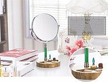 Spiegel Make-up Spiegel Double Mirror 7-Zoll-portable HD-Spiegel, Grün