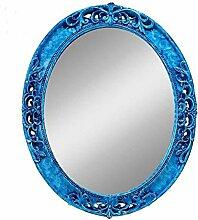 Spiegel-mediterranen Farbe Wand hängenden Spiegel grüne Grenze dekorative Spiegel Lila Oval mysteriösen Spiegel Bad Spiegel Willkommen (PU Farbe: Blau, Größe: L)