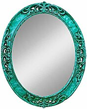 Spiegel-mediterranen Farbe Wand hängenden Spiegel grüne Grenze dekorative Spiegel Lila Oval mysteriösen Spiegel Badezimmer PU-Spiegel Willkommen (Farbe: Cyan, Größe: S)